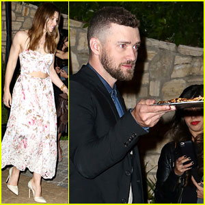 Justin Timberlake Takes Pizza to Go at Pre-Oscar Party with Jessica Biel!