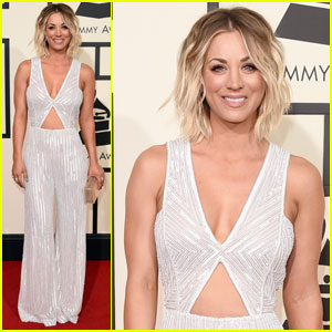 Kaley Cuoco Rocks a Silver Sparkle Jumpsuit for Grammys 2016