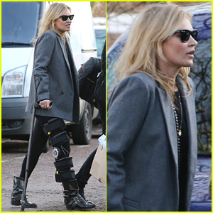 Kate Moss Walks with Crutches & Leg Brace in London