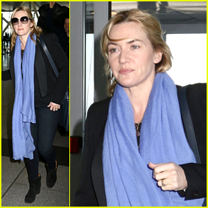 Kate Winslet Flies Out of NYC on Break From 'Collateral Beauty' Filming