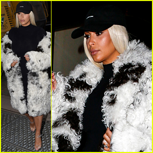 Kim Kardashian Steps Out in Blonde Wig After Yeezy Show