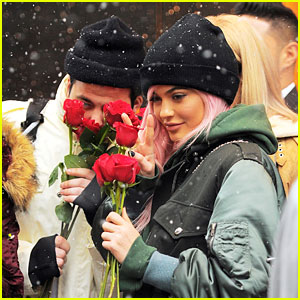 Kylie Jenner Poses With Roses in Pink Wig
