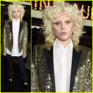 Lady Gaga Glitters in Gold for Saint Laurent at the Palladium