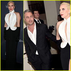 Lady Gaga & Fiance Taylor Kinney Glam Up for Pre-Oscar Party