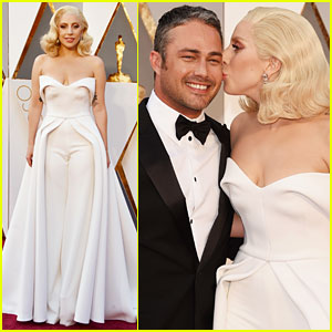 Lady Gaga Kisses Fiance Taylor Kinney at Oscars 2016