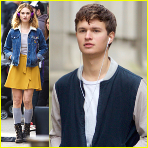 Lily James & Ansel Elgort Listen To Music On Set of 'Baby Driver'