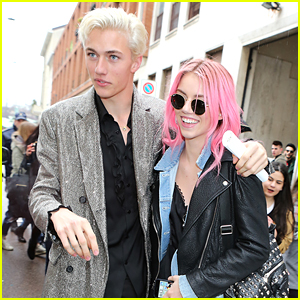 Lucky Blue Smith Watches Sister Pyper Walk During Milan Fashion Week