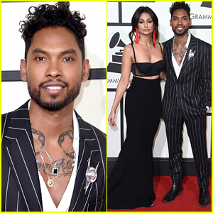 Miguel & Fiancee Nazanin Mandi Pose on Grammys 2016 Red Carpet!