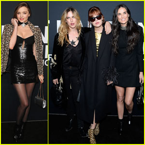 Miranda Kerr Steps Out for Saint Laurent Show Alongside Demi Moore & Her Daughters