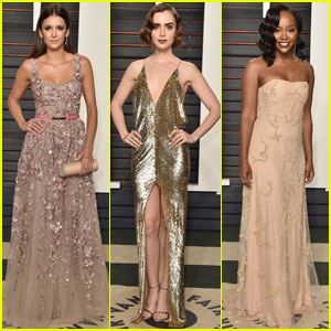 Nina Dobrev & Lily Collins Go Glam for Vanity Fair's Oscars Bash
