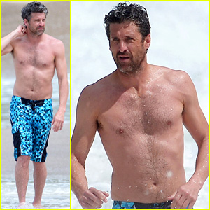 Shirtless Patrick Dempsey Continues His Beach Vacation with Wife Jillian!