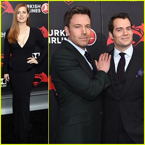 Amy Adams Joins Ben Affleck & Henry Cavill for 'Batman V Superman' Premiere