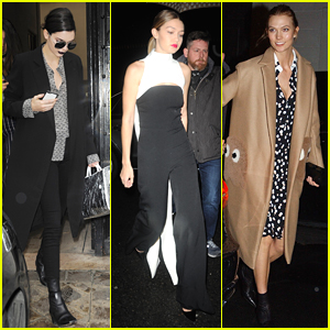 Kendall Jenner Dines Out with Gigi Hadid & Karlie Kloss in Paris