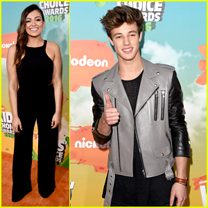 Bethany Mota & Cameron Dallas Hit Up Kids Choice Awards 2016 Orange Carpet