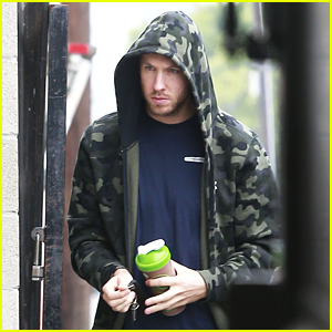 Calvin Harris Hits the Gym in Camouflage Hoodie