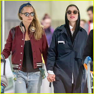 Cara Delevingne Holds Hands with St. Vincent Upon Paris Airport Arrival