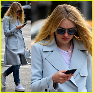 Dakota Fanning Is Pretty in Pastel for NYC Outing
