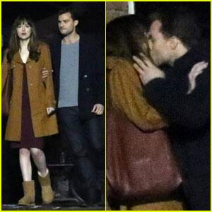 Dakota Johnson & Jamie Dornan Film Steamy 'Fifty Shades' Kissing Scene!