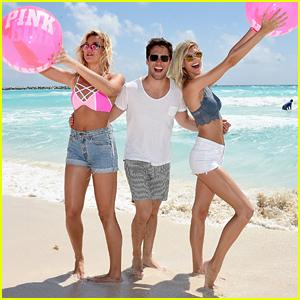 Diego Boneta Hangs With Devon Windsor at Pink Nation's Spring Break Beach Party