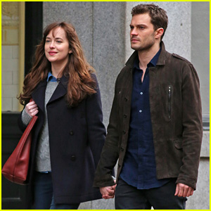 Jamie Dornan & Dakota Johnson Hold Hands to Reshoot 'Fifty Shades' After the Rain