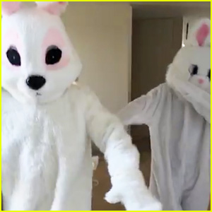 Kanye West & Tyga Dressed as Bunnies for Easter Celebration!