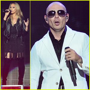 Leona Lewis Surprises Crowd at Pitbull's Vegas Show! (Video)