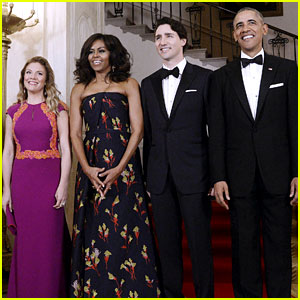 Michelle Obama Stuns in Floral Gown at Canadian State Dinner