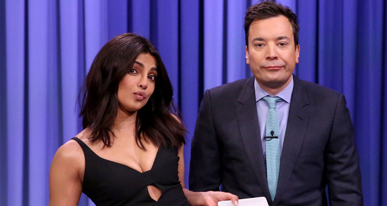 priyanka chopra has a wing eating contest with jimmy