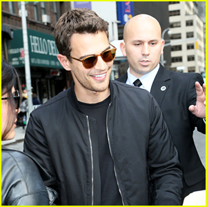 Theo James Greets Fans After Taping 'Late Show with Stephen Colbert'