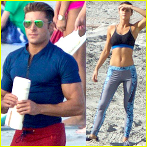 Zac Efron's Tight T-Shirt Shows All His Muscles on 'Baywatch' Set!