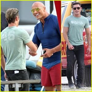 Zac Efron Shows Off Guns On 'Baywatch' Beach Set in Miami