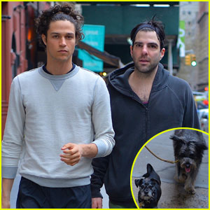 Zachary Quinto & Miles McMillan Take an Easter Sunday Stroll
