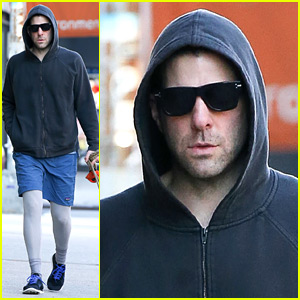 Zachary Quinto Wears Shorts Over Pants to Walk His Dogs