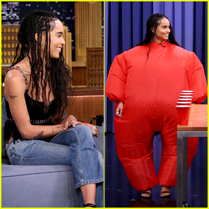 Zoe Kravitz Plays Inflatable Flip Cup With Jimmy Fallon - Watch Now!