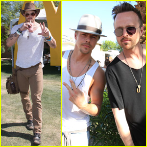 Aaron Paul & Derek Hough Stop By Bootsy Bellows Pool Party at Coachella 2016