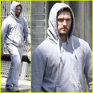 Alex Pettyfer Wears All Gray Sweats for Weekend Workout