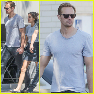 Alexander Skarsgard & Alexa Chung Hold Hands on Lunch Date with Friends!