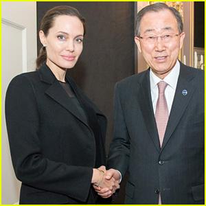 Angelina Jolie Pitt Meets with Secretary-General of the United Nations Ban Ki-moon