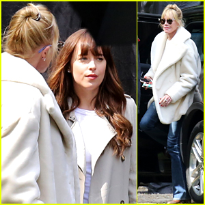 Dakota Johnson's Mom Melanie Griffith Visits 'Fifty Shades' Set