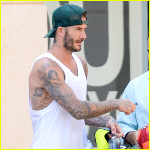 David Beckham Shows Off His Bare Arms & All His Tattoos!