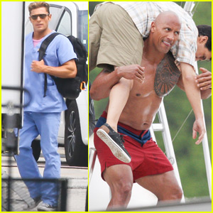 Dwayne Johnson Films a Rescue Scene on 'Baywatch' Set
