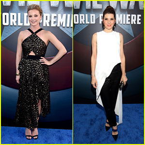 Emily VanCamp & Marisa Tomei Dazzle at 'Civil War' Premiere