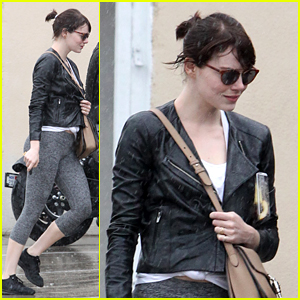 Emma Stone Doesn't Let the Rain Stop Her from Working Out!