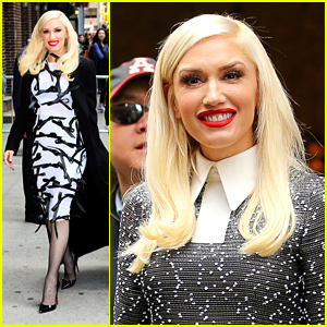 Gwen Stefani Goes for Graphic Black & White for NYC Media Stops