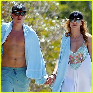 Heidi Klum Strolls Along the Beach with Boyfriend Vito Schnabel