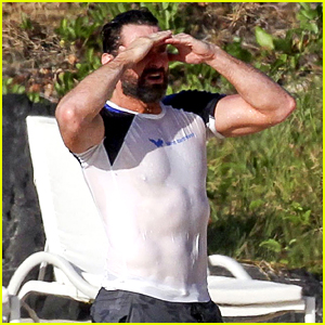 Hugh Jackman's Abs Poke Out of His Wet Shirt at the Beach!