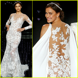Irina Shayk Models Wedding Dresses for Barcelona Bridal Week