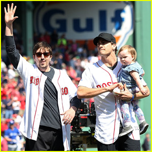 Jake Gyllenhaal Throws Opening Pitch With Boston Bombing Survivor