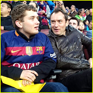 Jude Law Attends a Soccer Match with His Son Rafferty