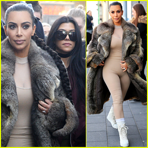 Kim Kardashian Wears Form-Fitting Bodysuit in Iceland